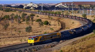Fig. 8 : Un train bloc évacuant le minerai dans l'ouest des États-Unis – Source : Ferret.com