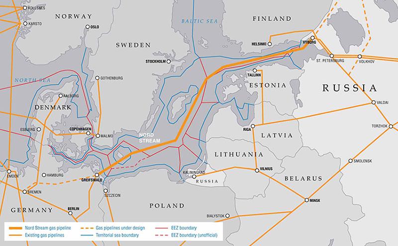 Fig. 5 : Les gazoducs existants et en projet entre la Russie et l'Europe – Source : Gazprom