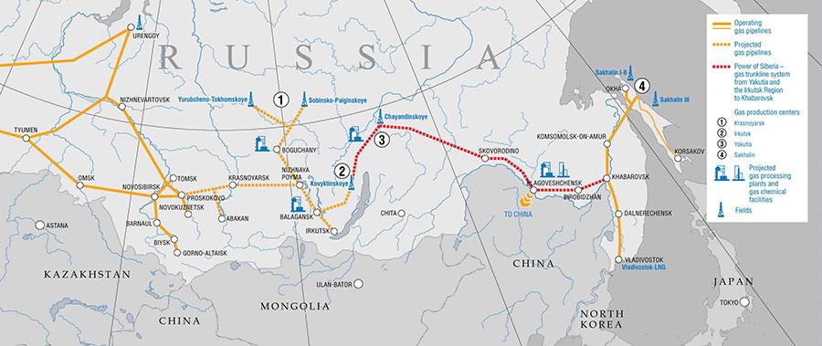 Fig. 7 : Les gazoducs existants et en projet entre la Russie et la Chine – Source : Gazprom