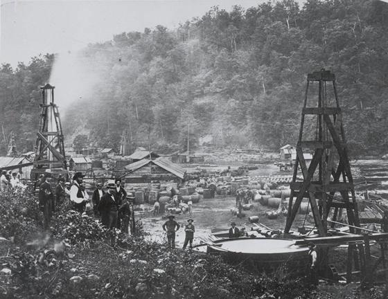 Fig. 2 : La explotación del petróleo en Pennsylvania – Fuente : Wikimedia Commons