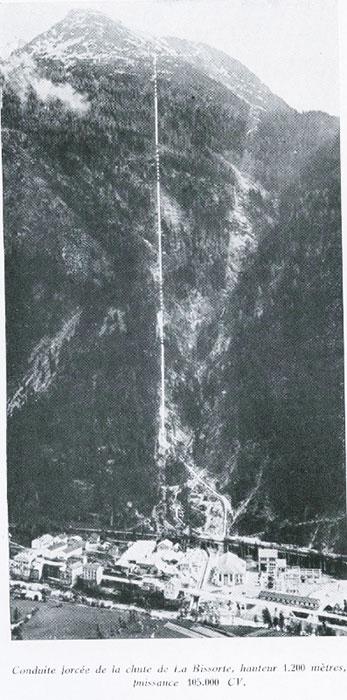 Fig. 6 : Conduite forcée de la chute de la Bissorte, hauteur 1200 mètres, puissance 115 000 CV – Source : Auteur