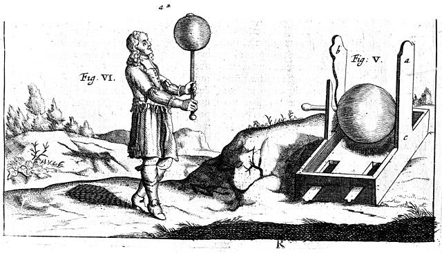 Fig. 1 : Première machine électrique d'Otto de Guericke - Source : Wellcome Images [CC BY 4.0 (https://creativecommons.org/licenses/by/4.0)], via Wikimedia Commons