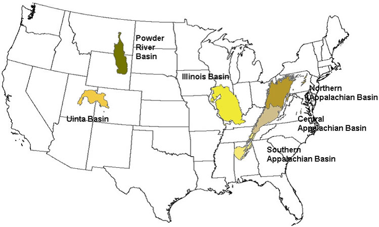 Fig. 7. Carte des principaux gisements charbonniers