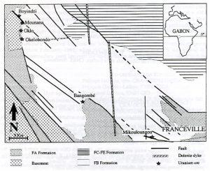 Fig. 2 : Carte géologique du bassin de Franceville