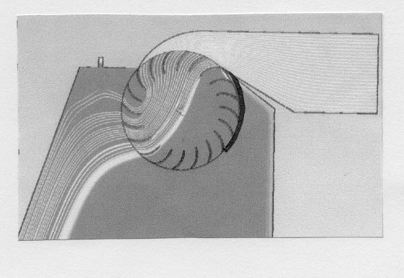 Fig. 4 : Turbine Banki. Vue en coupe de l'écoulement (de droite à gauche)