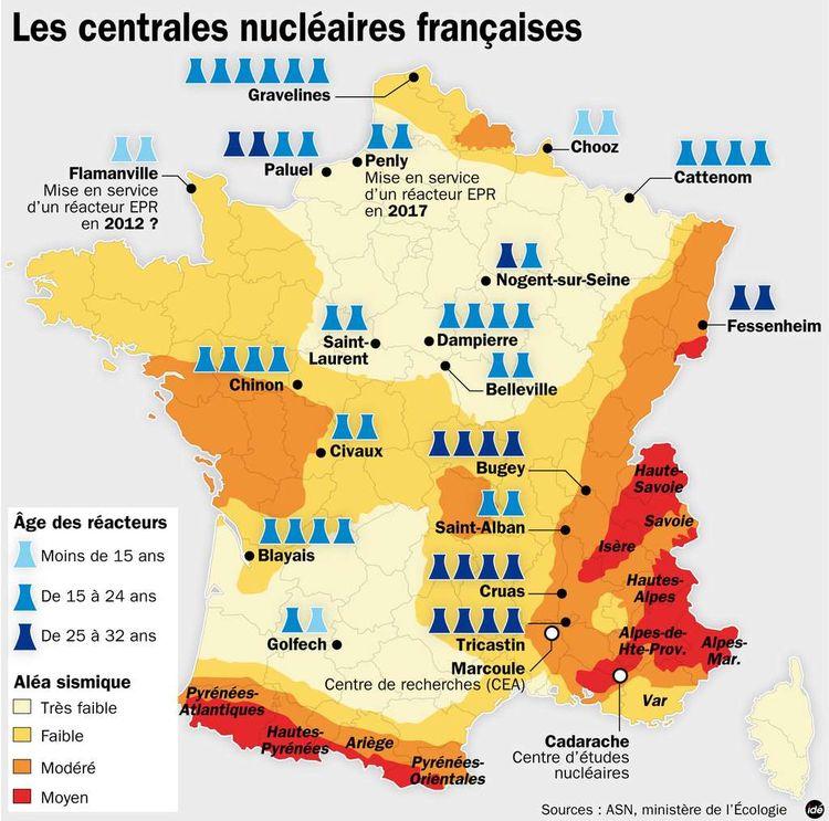 Fig. 4 : Les centrales nucléaires en France. Source : Libération