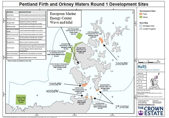 Fig. 15 : Emplacement de futurs parcs d'hydroliennes au nord de l'Ecosse
