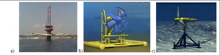 Fig. 4 : a) Hydrolienne UK MCT Seagen sur pile UK, b) immergée Sabella Fr., c) Alstom TGL Fr.