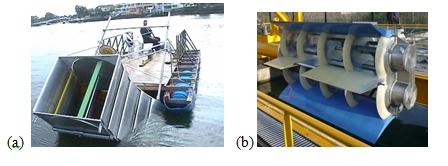 Fig. 9 : Turbine carénée à flux transverse a) DHVT Tidal Energy Ltd Aus. , b)Hydroquest-Ethic Fr.