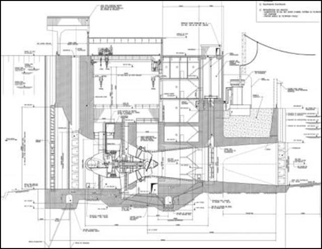 Fig. 12 : Centrale hydroélectrique de La Sarcelle, complexe de la Baie-James: débit turbiné 1 290 m3/s, chute nominale 10,8 m, 3 groupes bulbes de 43 MW chacun.