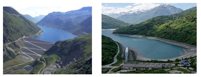 Fig. 9 : Vue du barrage supérieur et de la retenue inférieure de Grand Maison