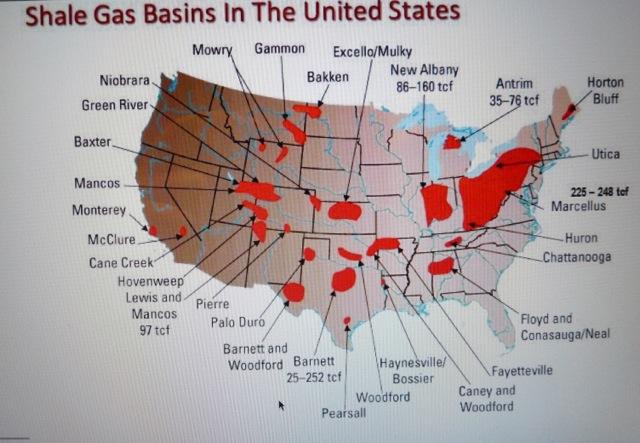 Fig. 4 : Extension des principaux gas shales aux Etats-Unis – source : U.S. Energy Information Administration