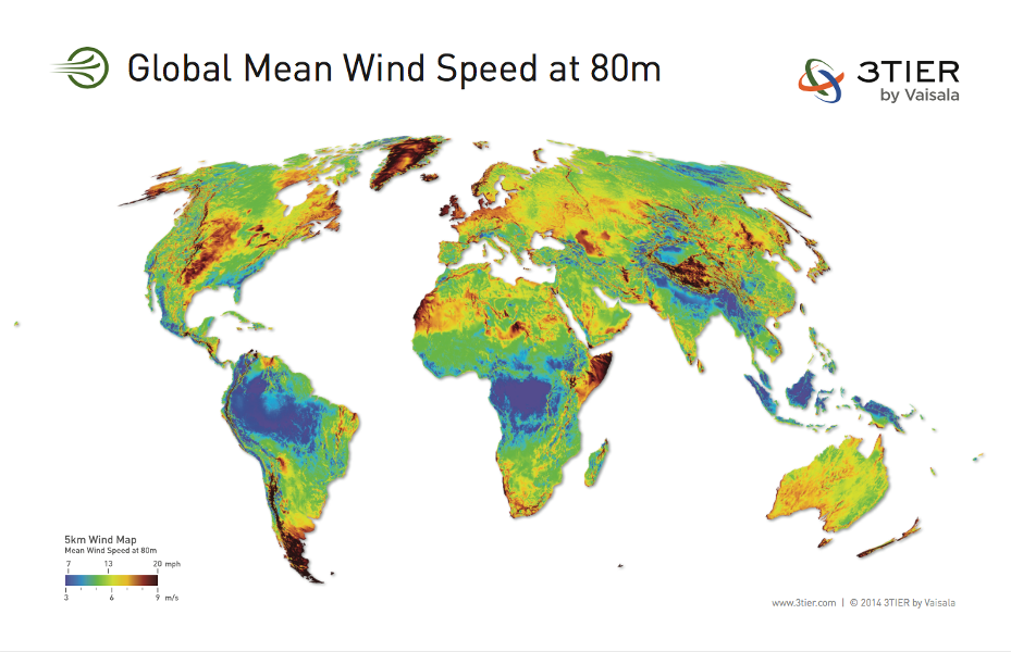 Fig. 1 : Modélisation du vent. Carte globale de la vitesse moyenne du vent à 80m de hauteur publiée par World Wind Energy Association – Source: 3TIER, www.3tier.com