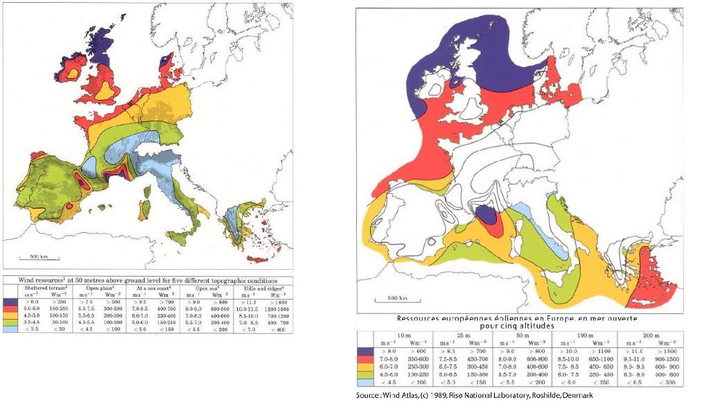 Fig. 2 : Atlas européen du gisement éolien terrestre et offshore réalisé en utilisant le logiciel de modélisation des écoulements WAsP, Laboratoire RISOE. – Source : http://www.windatlas.dk/Europe/About.html