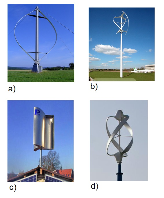 Fig. 8 : a) et b) deux éoliennes du type Darrieus,c) une éolienne type Savonius, d) une éolienne combinant les technologies Darrieus et Savonius – Source : http://ulm5305.phpnet.org/wp-content/uploads/2018/09/art088_figure8_eoliennes-Darrieus-Savonius.jpg