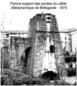 Fig. 5 : Pylône support des poulies du câble télédynamique de Bellegarde, 1873