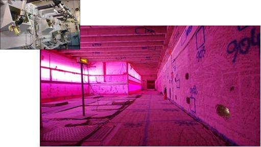 Fig. 7 : Laboratoire d'analyse des matériaux actifs (LAMA) à Grenoble, avant et après démantèlement