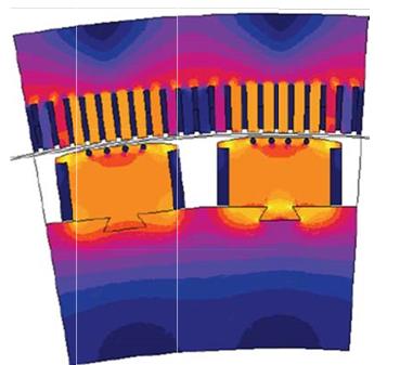 Fig. 5 : Simulation numérique dans un alternateur