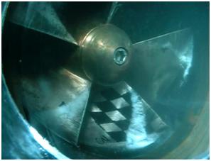 Fig. 4 : Cavitation à poches sur une roue de pompe