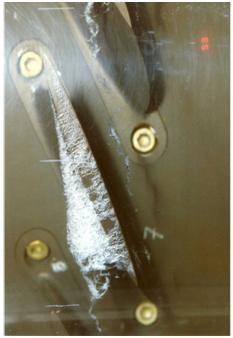 Fig. 5 : Cavitation à poches sur un entrefer de roue