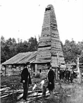 Fig. 1 : Les débuts de l'exploitation pétrolière aux États-Unis en 1866.