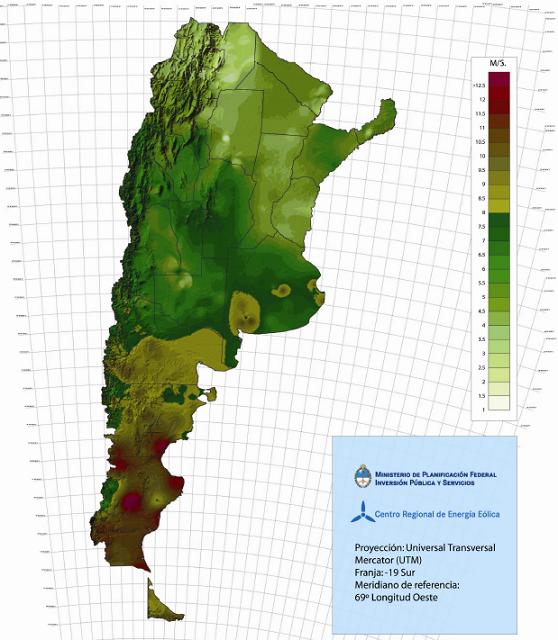 Fig. 6 : Carte du potentiel éolien en Argentine. Les différentes couleurs représentent la vitesse annuelle moyenne du vent à 50 mètres d'altitude - Source : Centro Regional de Energía Eólica