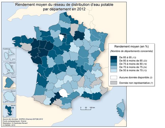 Fig. 1: Rendement moyen du réseau de distribution d'eau potable par département en 2012. Source : EauFrance