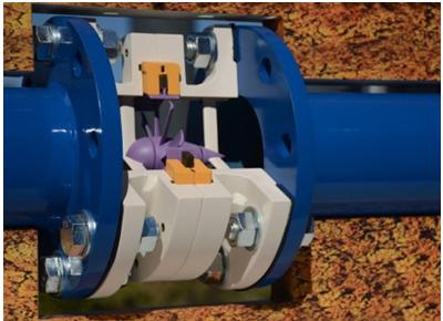 Fig. 4 : Intégration de la pico-turbine de Save Innovations au sein d'une canalisation
