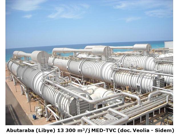 Fig. 13 : Usine de dessalement Abutaraba (Lybie) 13 300 m3/j MED-TVC – Source : Veolia - Sidem