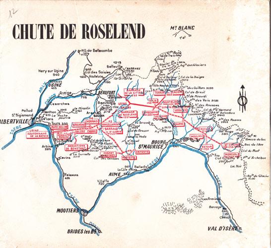 Fig. 2: Carte « chute de Roselend » - Source : documentation EDF, années 1960
