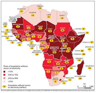Fig. 2 : Non accès à l'électricité sur le continent africain, 2012. – Source : IEA, Africa Energy Outlook 2014. (https://www.iea.org/publications/freepublications/publication/WEO2014_AfricaEnergyOutlook.pdf)