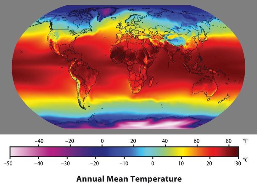 Fig. 2 : Répartition de la température annuelle à la surface de la Terre, moyennée sur la période 1961-1990. Cette carte a été obtenue en combinant les données continentales (Mark et al. 2000) avec les données maritimes (Reynolds et al. 2002) et les données de la réanalyse 2.5°CNCEP/NCAR version1 (Kalnay et al. 1996). - Source : Image created by Robert A. Rohde/Global Warming Art/CC-BY-SA-3.0/GFDL. L'évolution mois par mois de la température de surface de l'air, moyennée sur la période 1959-1997, est présentée sur le site http://geog.uoregon.edu/envchange/clim_animations/flash/tmp2m.html