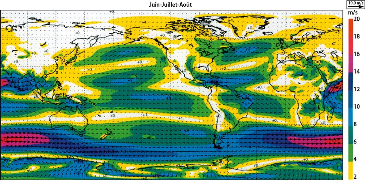 Fig. 5 : Répartition moyenne des vents à l'altitude 1500 m au dessus du niveau de la mer (850 hPa) d'après la reconstitution d l' « European Centre for Medium-Range Weather Forecasts ». Haut : moyenne sur décembre, janvier, février. Bas : moyenne sur juin, juillet, août. - Source : Reproduced by permission of ECMWF in « Climats - Passé, présent, futur », M-A. Mélières et C. Maréchal, Ed. Belin 2015.