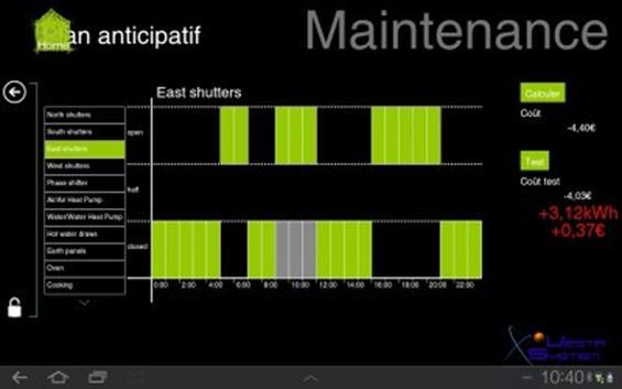 Fig. 7 : Un exemple de programmation prenant en compte les prévisions météo et les usages des occupants - Source : site internet VestaSystem