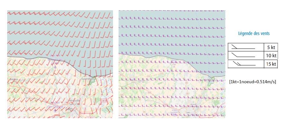 Fig. 4 : Carte des vents Corseulles-sur-Mer à quelques dizaines de mêtres (à gauche) et plus de 450m (à droite) - Source: Météo France
