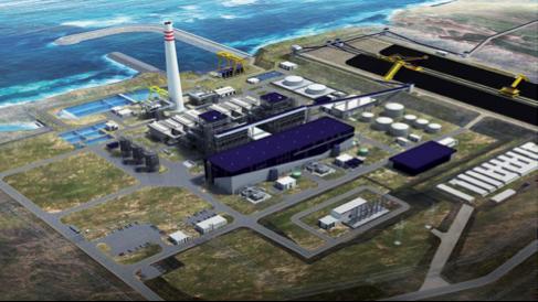 Fig. 11: La centrale thermoélectrique charbon de Safi en construction