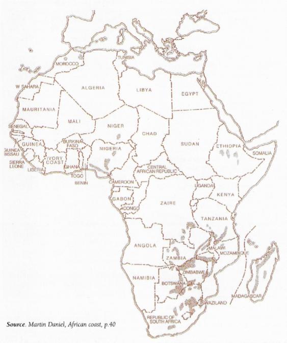 Fig.1: Carte des ressources charbonnières de l'Afrique – Source : Martin Daniel, African coast, page 40