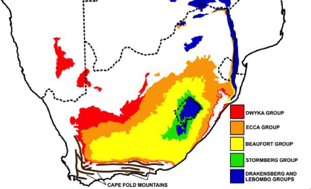 Fig. 2 : Bassins charbonniers en Afrique du Sud – Source : Wikimédia Commons