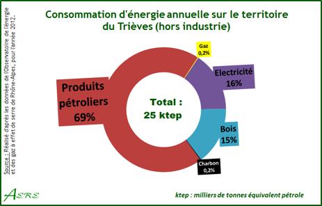 Fig 3. Structure de la consommation d'énergie du Trièves en 2013 - Source : AERE (Alternative pour l'Energie, les énergies Renouvelables et l'Environnement)