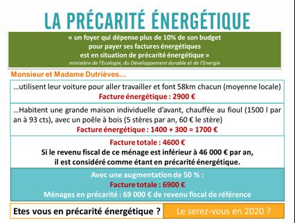 Fig. 7 : Estimation de la précarité énergétique - Source : AERE (Alternative pour l'Energie, les énergies Renouvelables et l'Environnement)