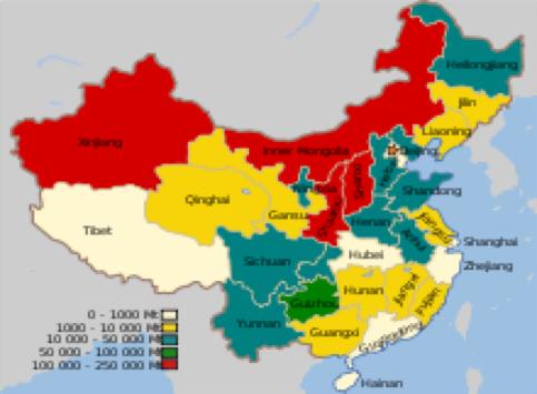 Fig. 1 : Géographie des ressources charbonnières – Source : Wikipedia.
