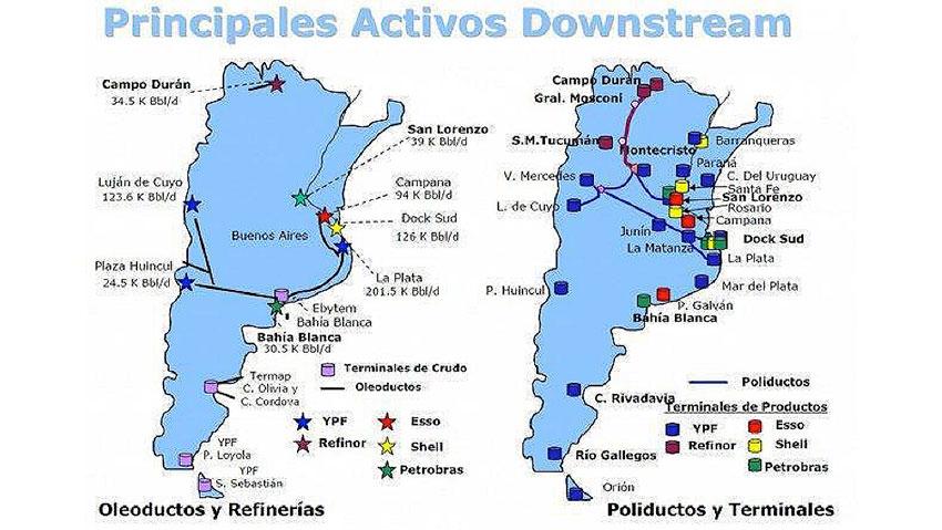 Mapa 1 : Ubicación de las principales refinerías en Argentina