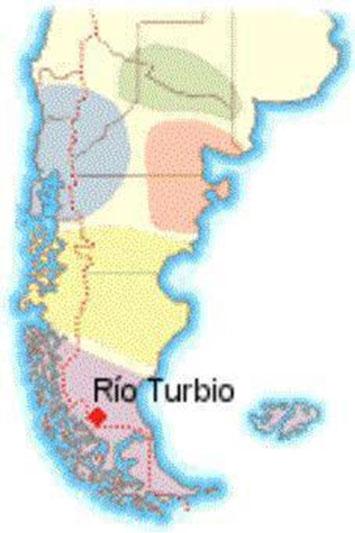 Mapa 2 : Ubicación de la mina de Rio Turbio en la Patagonia
