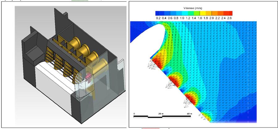 Fig. 16 : Modélisation des passes amont des groupes turbines du site de Vaugris, Projet Penelop – Source : CNR et ARTELIA