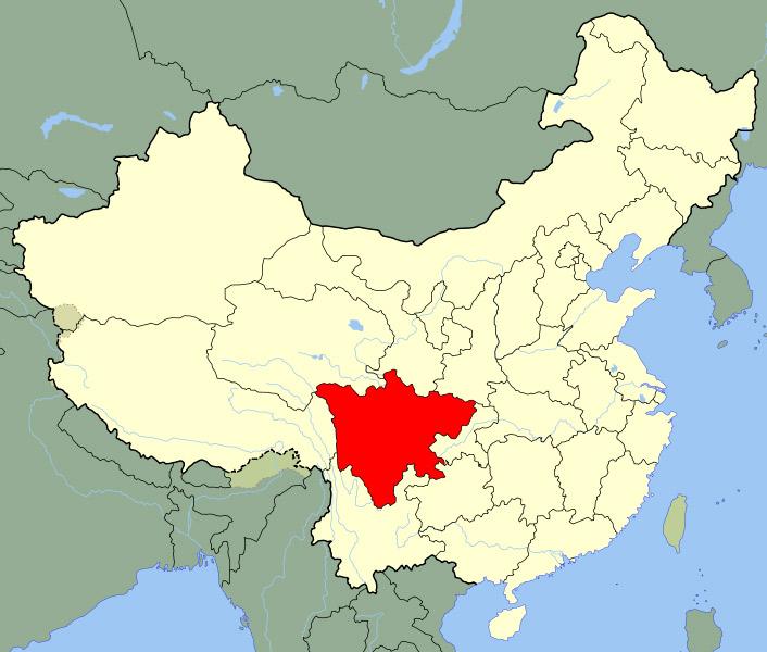 Fig. 5 : La province du Sichuan, Chine – Source : By Joowwww [Public domain], via Wikimedia Commons