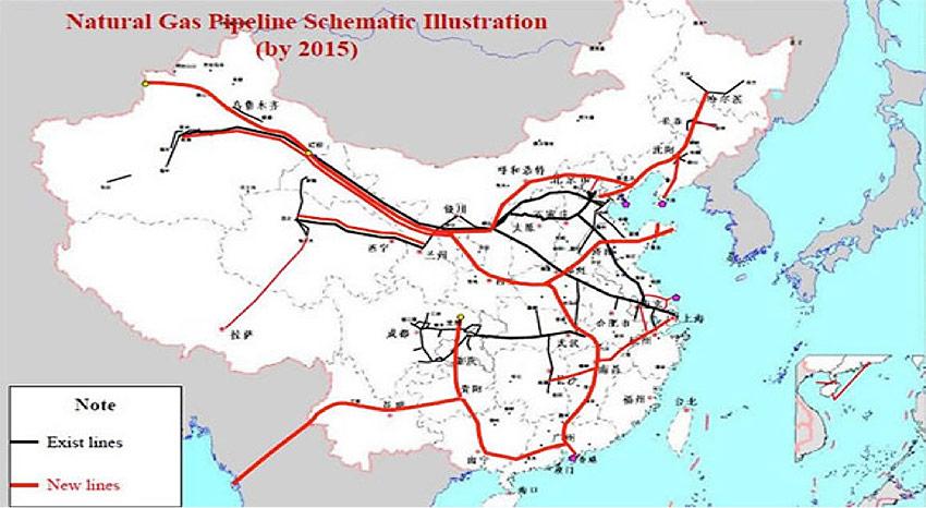 Fig. 6 : Le réseau de gazoducs en 2015
