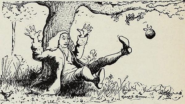Fig. 1 : Représentation de Newton, une fraction de seconde avant sa découverte de la loi de l'attraction universelle.