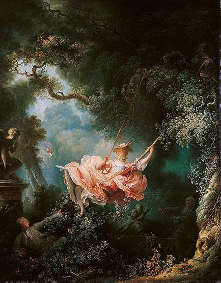 Fig. 2 : Les Hasards heureux de l'escarpolette, du peintre Fragonard. Quand la balançoire descend, l'énergie potentielle diminue et l'énergie cinétique augmente. C'est l'inverse quand la balançoire monte.