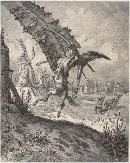Fig. 5 : Don Quichotte et les moulins, gravure de Gustave Doré