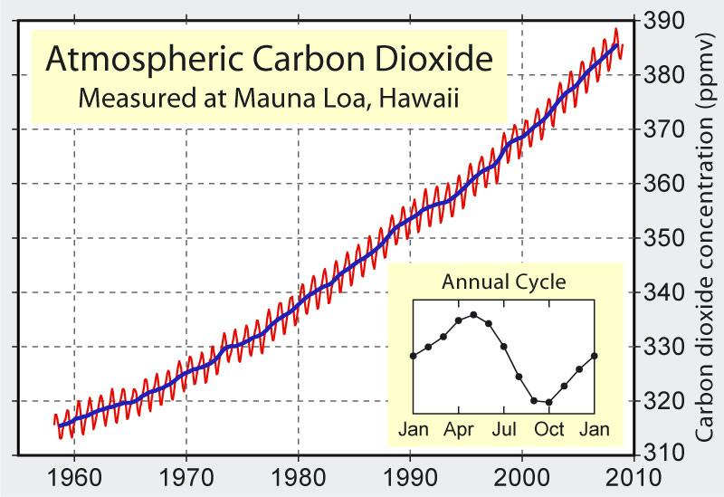 Fig. 9 : Évolution sur 57 ans de la concentration de CO2 dans l'air à l'observatoire de Mauna Loa. La Figure en encart détaille la chute saisonnière du CO2 durant la saison de végétation (d'avril à octobre) et son élévation en automne/hiver de l'hémisphère nord (la végétation terrestre est plus importante dans l'hémisphère nord). Source : Delorme. Travail personnel. Données de Dr. Pieter Tans, NOAA/ESRL and Dr. Ralph Keeling, Scripps Institution of Oceanography.